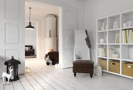 stark: 3D render of apartment living room with bookshelf, floor mirror in minimalist modern Scandinavian interior design Stock Photo