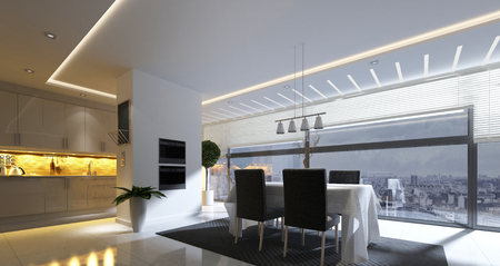 modern apartment: 3D rendering of modern dining room with ceiling lamp and nearby kitchen area in spacious apartment home