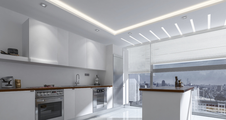 modern kitchen: 3D rendering of luxury kitchen with spacious cabinets, built in oven, sink and large windows
