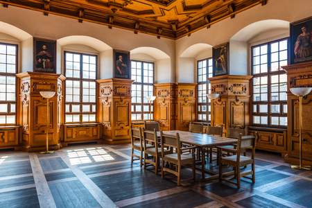 palaces: Augsburg, Germany - September 08, 2016: Interior of the Golden Hall in the Aubsburg town hall, Bavaria, Germany, a famous Renaissance building with its coffered ceiling and portraits of dignatories Editorial