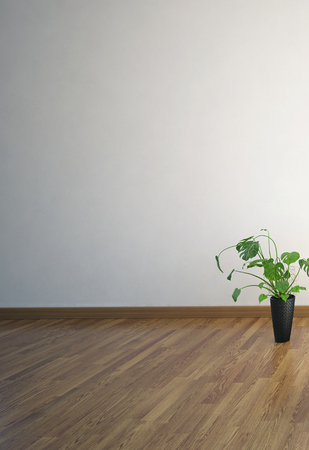 hardwood floor: 3D rendering of hardwood floor in room with blank wall and tall house plant