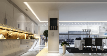 penthouse: Large spacious open plan modern stylish kitchen and dining room with fitted appliances and cabinets and a dividing wall from the dining table and chairs , 3d rendering Stock Photo