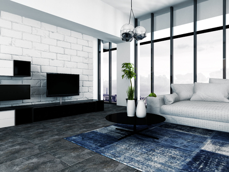 modern living room: 3D rendering of spacious empty entertainment room with oval shaped table, sofa and televisions on stone wall.
