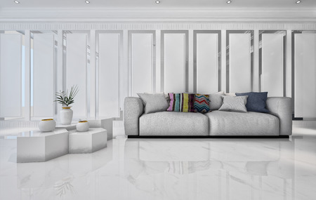 wide angle: 3D rendering of marble table with plant and large comfy sofa in bright white living room