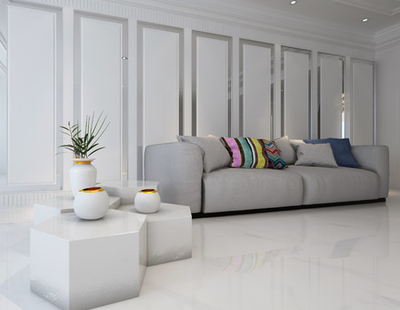 panels: 3D rendering of octagonal tables with vases beside large sofa covered with colorful pillows in living room