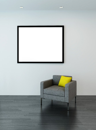 living room wall: 3D rendering of urban living room interior with square shaped sofa chair, large empty picture frame on neutral wall Stock Photo