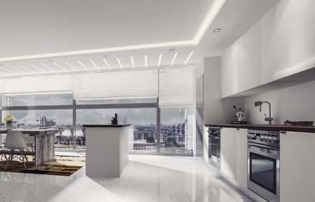 kitchen counter: 3D rendering of counter top oven and sink in spacious kitchen with island and table. Large windows in background.