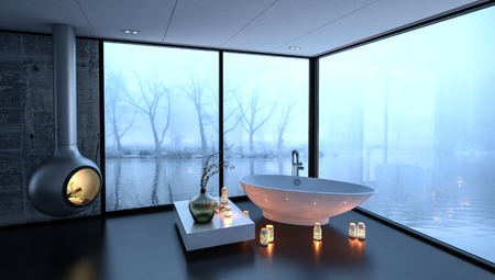 freestanding: 3d rendering of bathtub surrounded by fireplace and candles in luxury bathroom with large fogged up windows