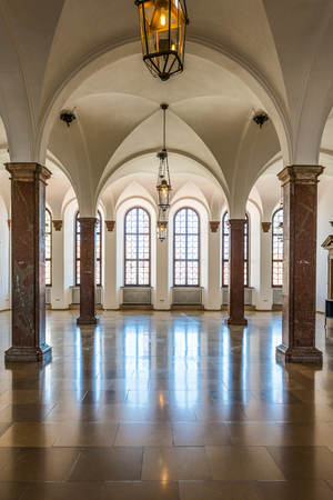 Augsburg, Germany - September 08, 2016: Spacious interior of the historic town hall, Augsburg, Bavaria, Germany with its vaulted ceiling and arched windows