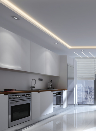 lighting fixtures: Monochromatic white modern fitted kitchen interior with built in appliances and wall mounted cabinets in a receding view to a floor-to-ceiling window, 3d rendering Stock Photo