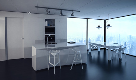 condominium: 3d rendered interior of condominium kitchen with track lighting, tables and chairs. City in background through windows. Stock Photo