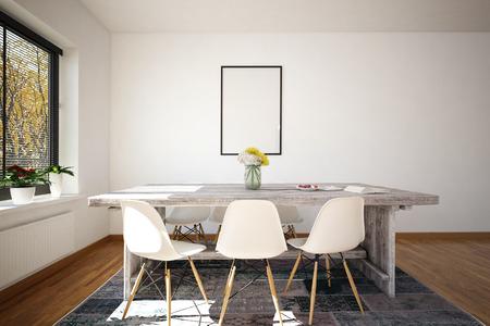 Het 3D teruggeven van de kleine lijst van de bureauconferentie met zes plastic stoelen en witte muur. Leeg afbeeldingsframe op de muur.
