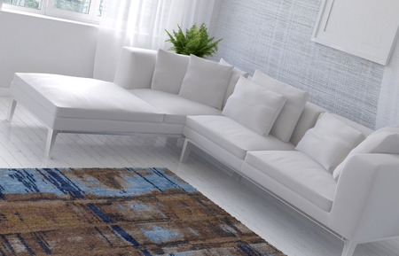 closeup: 3D rendering of dutch angle view of sofa and table in room with brown and and blue carpeting