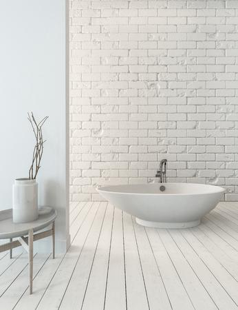 3D rendering of fancy bathtub on wooden plank floor beside sink in simple luxury bathroom with white brick wall