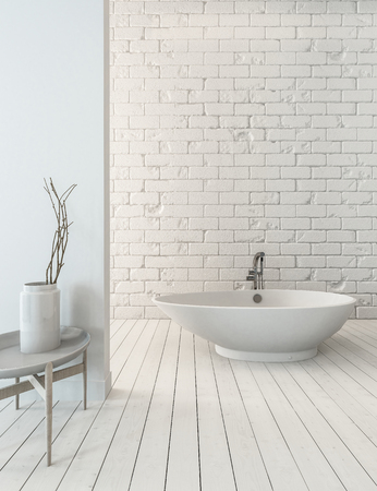 3D rendering of fancy bathtub on wooden plank floor beside sink in simple luxury bathroom with white brick wall