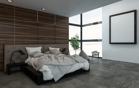 bed frame: 3D rendering interior scene of large bed with nightstands in fancy bedroom. Square picture frame on wall near window. Stock Photo