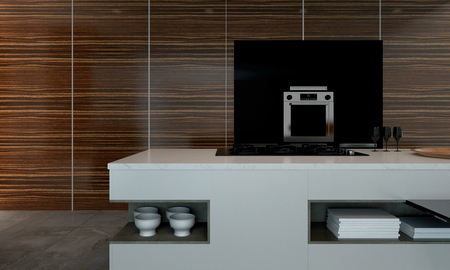 wood paneling: 3D rendering of kitchen counter with stacks of napkins and bowls. Large wood paneling wall surrounding stainless steel oven.