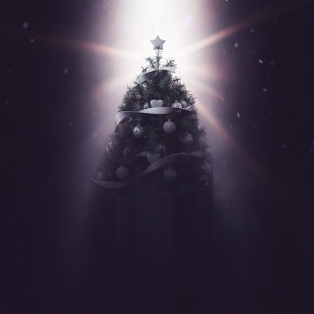 Single large back-lit Christmas tree decorated with neutral colored garland and ornaments and bright star on top