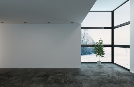Large empty room with floor to ceiling windows, plant and copy space. 3d Rendering.