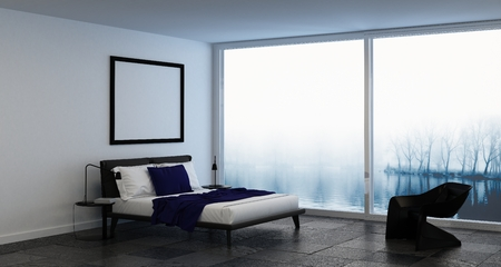 double glazing: 3D interior render of bedroom with blank square picture frame above bed beside chair in front of misty windows
