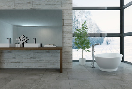 modern apartment: 3D rendering of bathtub facing large windows in luxury bathroom with wall of bright windows facing snowy landscape Stock Photo