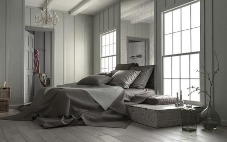 Moderner Schlafzimmerinnenraum mit großem Spiegel über dem Doppelbett und den großen Häuschenscheibenfenstern, die Tageslicht hereinlassen, 3d übertragen