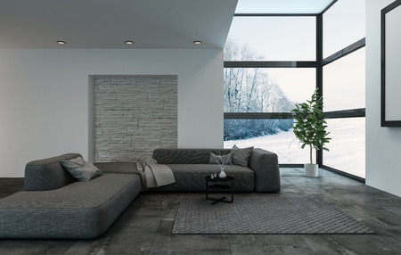Luxury dark blue modular sofa in living room with windows and carpet. Large houseplant at outside corner. 3d Rendering.
