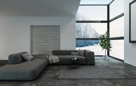 Luxe donkerblauwe modulaire bank in woonkamer met ramen en tapijt. Grote huisplant op buitenkant. 3D-rendering.