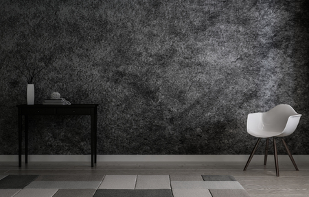 gritty: 3D rendering interior scene of gritty gray wall with dark narrow wooden table and single plastic chair on each side Stock Photo