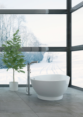 modern apartment: 3D rendering of snowy landscape behind windows of bathroom with luxury tub and tall green houseplant Stock Photo