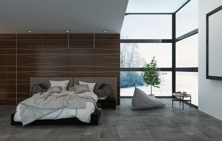 decoration messy: 3D rendering interior of single large bed in room with houseplant, table and giant windows facing trees and field of snow Stock Photo