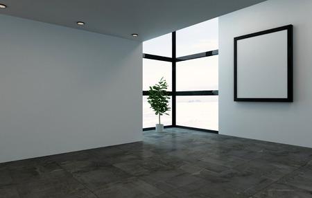大きな正方形の画像フレームと明るい窓と空の部屋のインテリア シーンを 3 D レンダリング。コーナーに単一の大きい室内用植物ツリー。 写真素材
