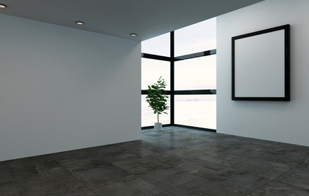 3D rendering interior scene of empty room with large square picture frame and bright windows. Single large houseplant tree in corner.