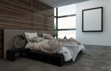 decoration messy: 3D rendering interior showing side view of messy bed in room with blank picture frame