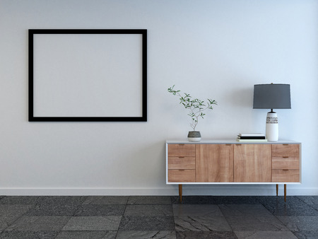 3d teruggegeven mockup van een woonkamer interieur met lege omlijsting op de muur en kleine houten kast met lamp op een witte muur Stockfoto