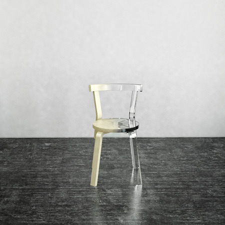 partially: 3D rendering of partially finished glass chair on top of dark gray marble floor with gray background
