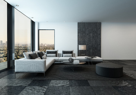 room: 3D rendering of spacious minimalist living room with dark stone tiles and windows facing urban city in the horizon