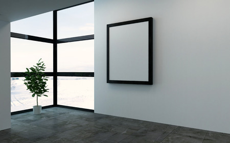 room: 3D rendering scene of empty room with large square picture frame and bright windows. Single large houseplant tree in corner.