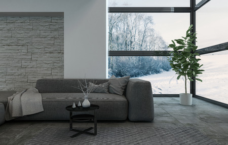 luxury house: 3D rendering of large gray living room sofa with pillows and sheets on top in spacious area. Wide window view of snowy landscape.