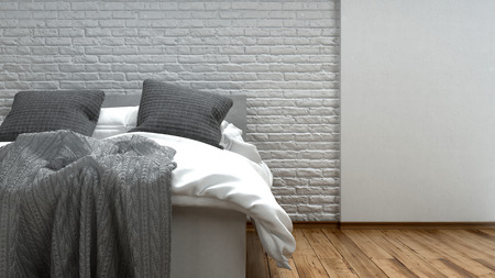 Unmade grey and white bed in a modern loft with two candelabras alongside on a wooden floor with textured brick wall, 3d rendered illustration Stock Photo