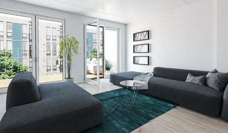 Large 3d rendered modern luxury condo living room interior with grey upholstered couches and glass doors leading to an outdoor patio overlooking apartment blocks