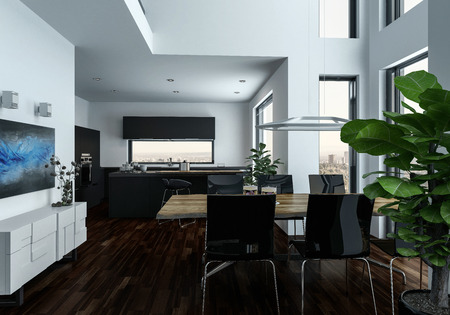 double volume: Large open plan double volume living room interior with houseplants and a dining suite in front of large view windows with cityscape, 3d render