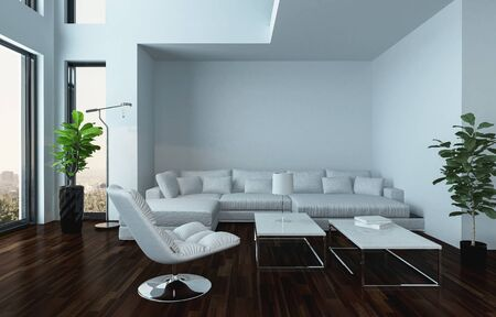 oversized: Modern light white living room interior with couch and dark wooden parquet floor with a houseplant standing in an oriel. 3d Rendering