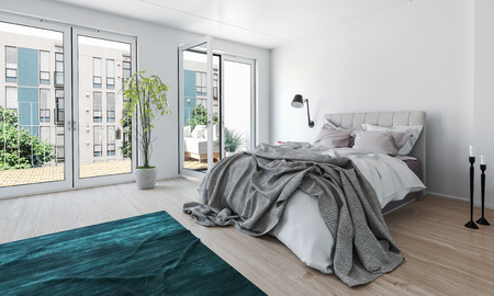 patio: Bright modern bedroom in a high-rise apartment with a mussed unmade bed and large glass doors leading to an outdoor patio letting in lots of daylight, 3d render Stock Photo