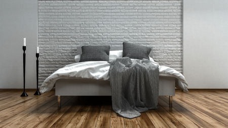 decoration messy: Unmade grey and white bed in a modern loft with two candelabras alongside on a wooden floor with textured brick wall, 3d rendered illustration Stock Photo
