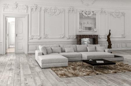 Neutrale monochrome witte klassieke woonkamer interieur met lambrisering en stucwerk lijstwerk, een spiegel boven een marmeren open haard en comfortabele modulaire bank en dag bed, 3D render Stockfoto