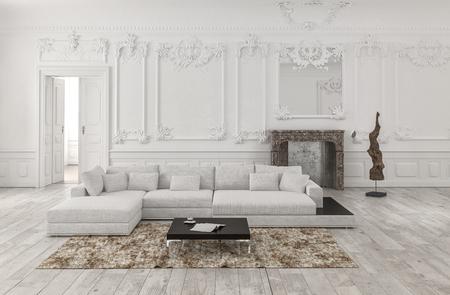 3d rindió clásica en blanco y negro blanco de la sala interior con paneles de madera y paneles de madera en las paredes y molduras ornamentales cuentan con un amplio sofá modular cómoda y manta Foto de archivo - 67510547