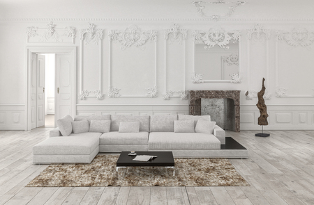 Classical white 3d rendered monochrome living room interior with wainscoting and wood panelling on the walls and ornate stucco moldings furnished with a large comfortable modular couch and rug Banque d'images