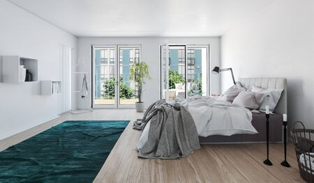 bedroom bed: Unmade bed with messy rugs and bedclothes in a large bright apartment bedroom with glass door onto an outdoor patio and view of urban high-rise buildings, 3d render