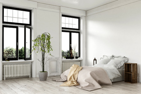 wood frame: Airy bright white bedroom interior with large double windows and a bed with throw rugs on a painted hardwood floor with potted plant, 3d rendered corner view
